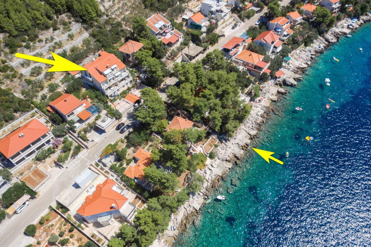 korcula prizba apartments jelica from air 15 arrow beach 1200x800