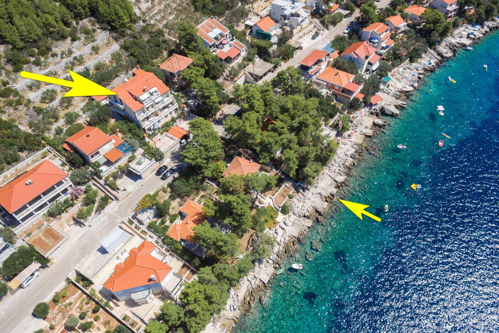 korcula prizba apartments jelica from air 15 arrow beach